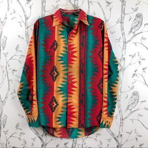 Vintage 90s aztec southwestern button up shirt